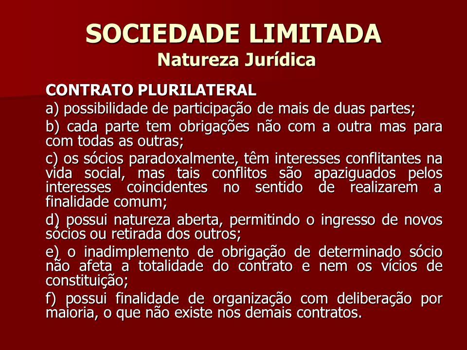 SOCIEDADE LIMITADA Natureza Jurídica CONTRATO PLURILATERAL a) possibilidade de participação de mais de duas partes; b) cada parte tem obrigações não c
