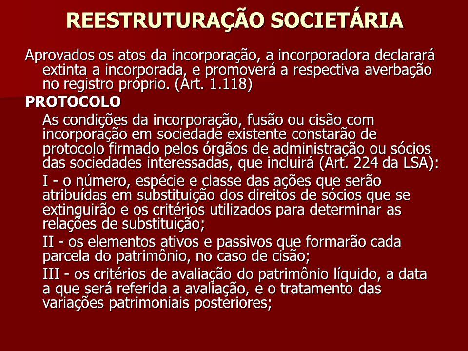 REESTRUTURAÇÃO SOCIETÁRIA Aprovados os atos da incorporação, a incorporadora declarará extinta a incorporada, e promoverá a respectiva averbação no re