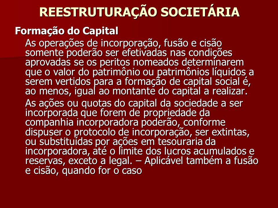 REESTRUTURAÇÃO SOCIETÁRIA Formação do Capital As operações de incorporação, fusão e cisão somente poderão ser efetivadas nas condições aprovadas se os