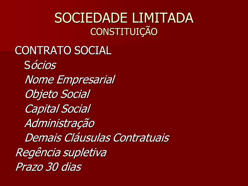 SOCIEDADE LIMITADA CONSTITUIÇÃO CONTRATO SOCIAL Sócios Nome Empresarial Objeto Social Capital Social Administração Demais Cláusulas Contratuais Regênc
