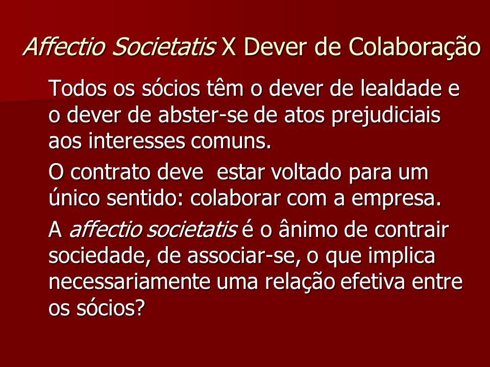 Affectio Societatis X Dever de Colaboração Todos os sócios têm o dever de lealdade e o dever de abster-se de atos prejudiciais aos interesses comuns.
