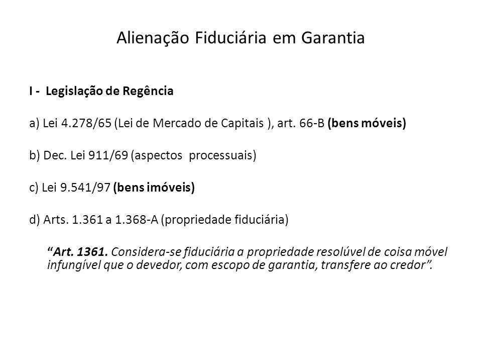 Alienação Fiduciária em Garantia I - Legislação de Regência a) Lei 4.278/65 (Lei de Mercado de Capitais ), art. 66-B (bens móveis) b) Dec. Lei 911/69