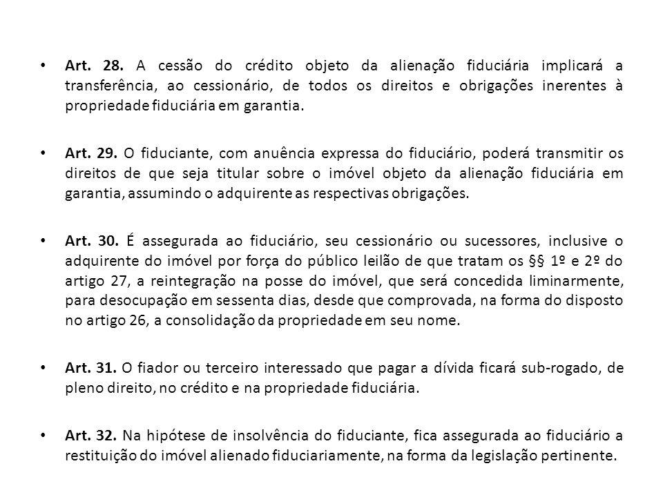 Art. 28. A cessão do crédito objeto da alienação fiduciária implicará a transferência, ao cessionário, de todos os direitos e obrigações inerentes à p