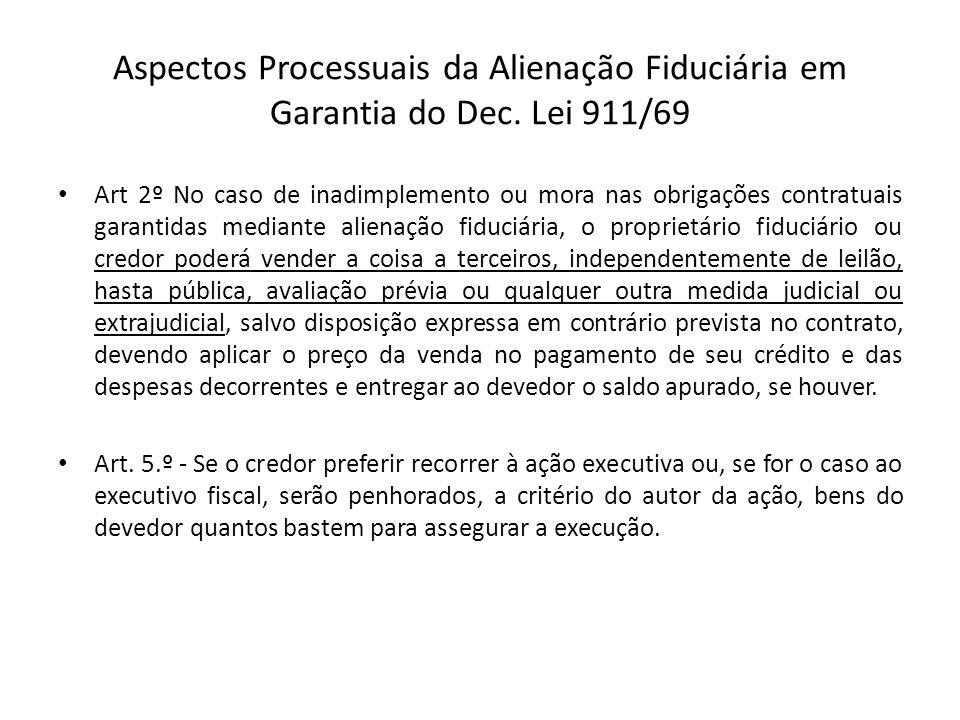 Aspectos Processuais da Alienação Fiduciária em Garantia do Dec. Lei 911/69 Art 2º No caso de inadimplemento ou mora nas obrigações contratuais garant