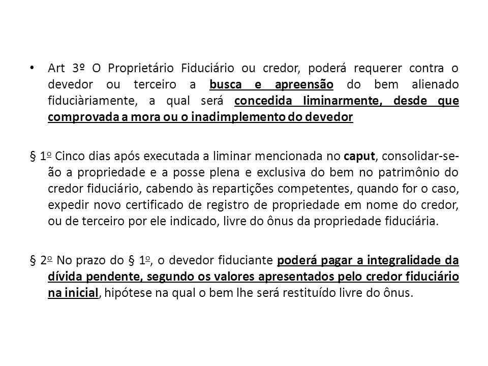 DA ALIENAÇÃO FIDUCIÁRIA DE COISA IMÓVEL Lei n.º 9.514/1997 Art.