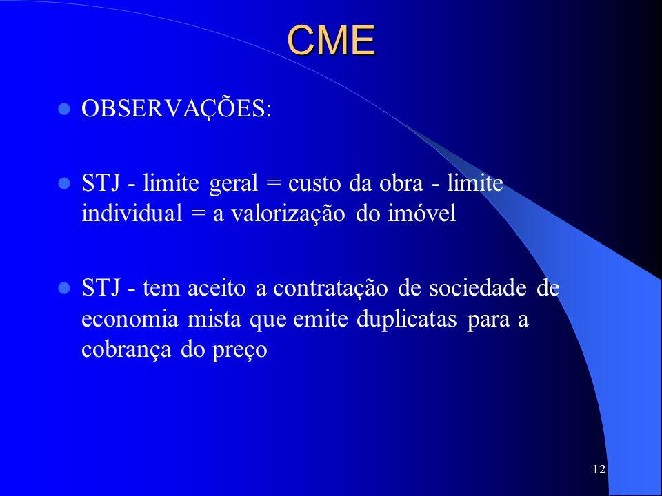 12CME OBSERVAÇÕES: STJ - limite geral = custo da obra - limite individual = a valorização do imóvel STJ - tem aceito a contratação de sociedade de eco