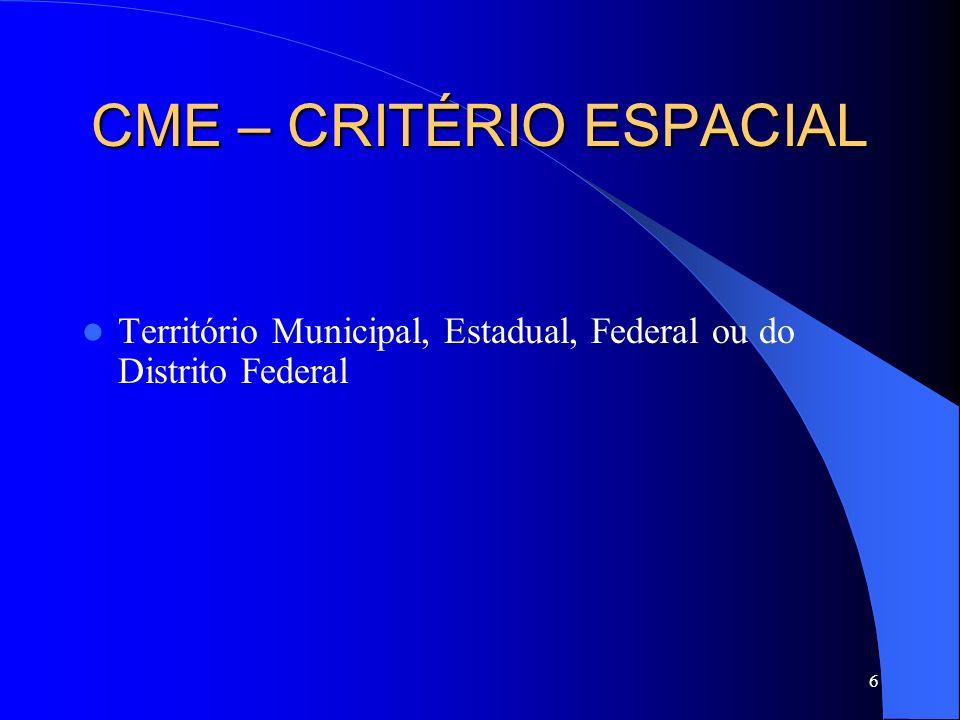 6 CME – CRITÉRIO ESPACIAL Território Municipal, Estadual, Federal ou do Distrito Federal