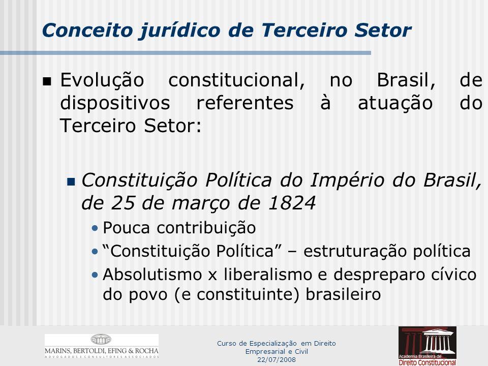 Curso de Especialização em Direito Empresarial e Civil 22/07/2008 Conceito jurídico de Terceiro Setor Fala de D.