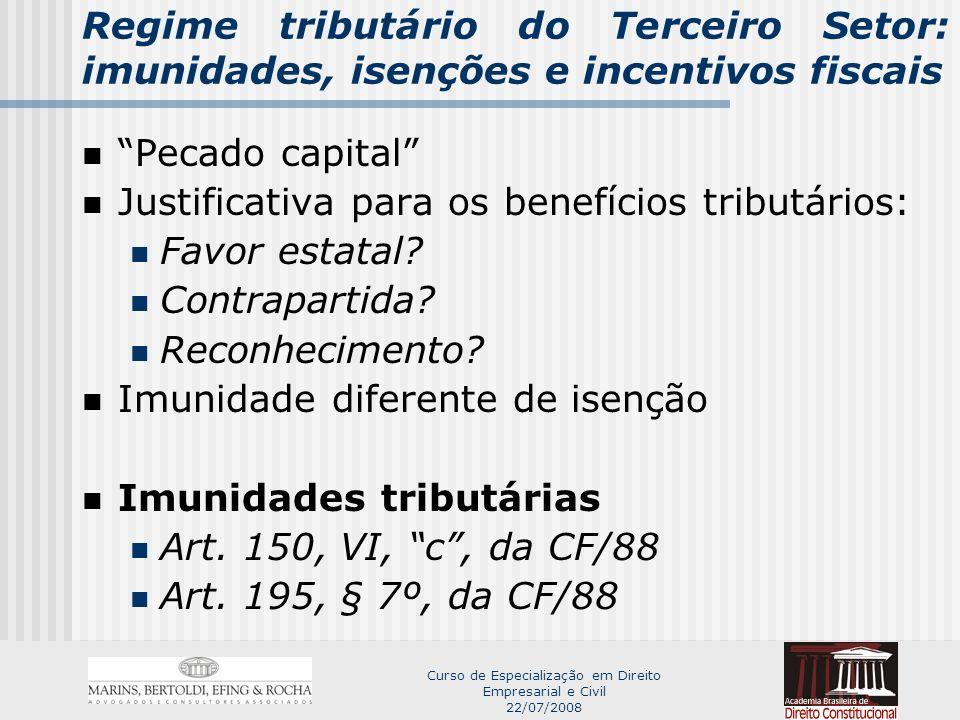 Curso de Especialização em Direito Empresarial e Civil 22/07/2008 Regime tributário do Terceiro Setor: imunidades, isenções e incentivos fiscais Isenções tributárias Art.