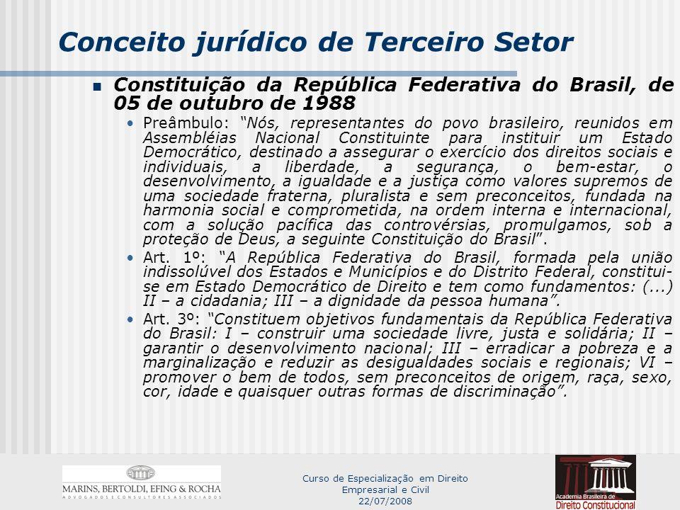 Curso de Especialização em Direito Empresarial e Civil 22/07/2008 Conceito jurídico de Terceiro Setor LIBERDADE DE ASSOCIAÇÃO LIBERDADE DE ASSOCIAÇAÕ SINDICAL Art.