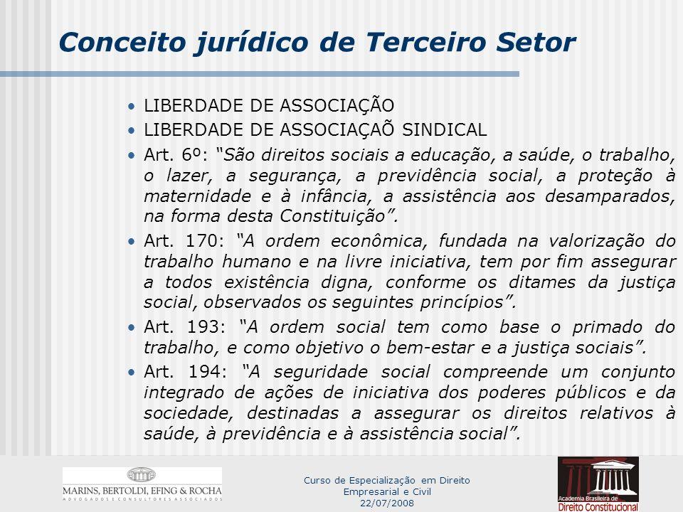 Curso de Especialização em Direito Empresarial e Civil 22/07/2008 Conceito jurídico de Terceiro Setor Art.