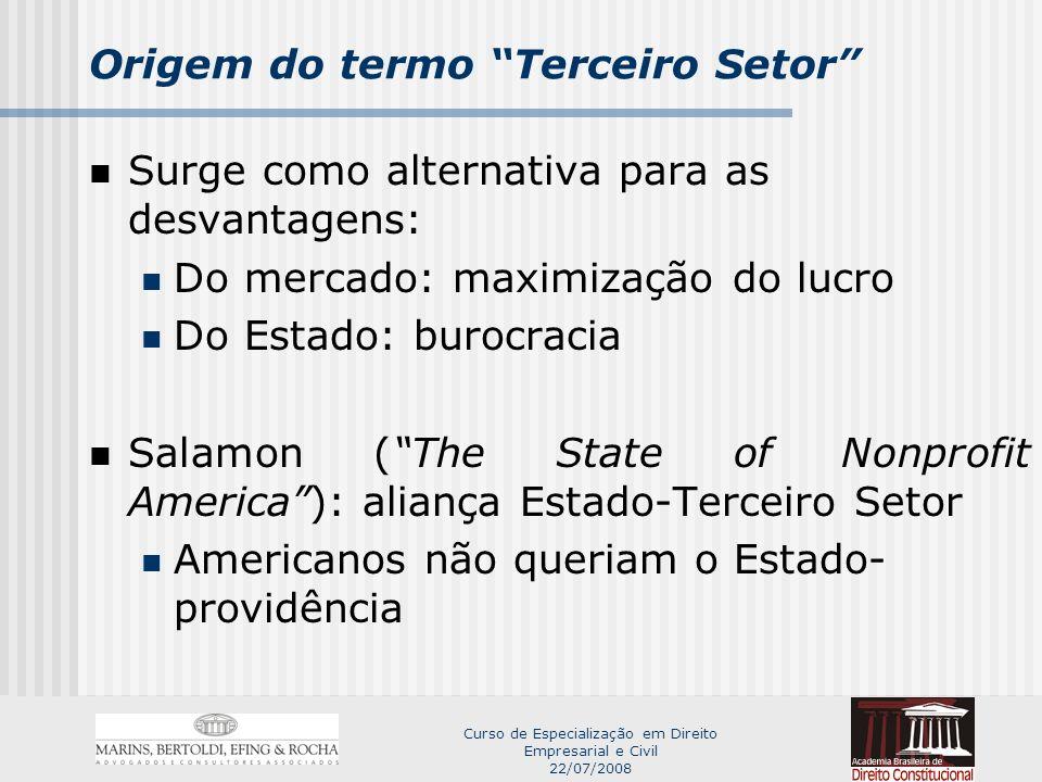 Curso de Especialização em Direito Empresarial e Civil 22/07/2008 Origem do termo Terceiro Setor Terceiro Setor.