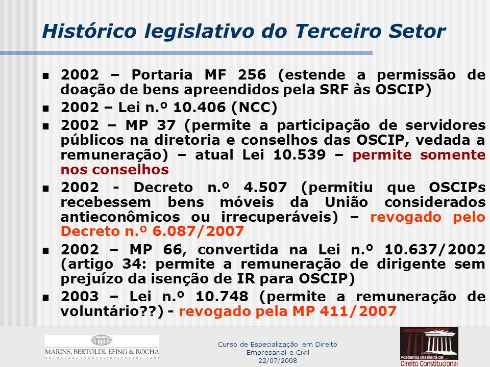 Curso de Especialização em Direito Empresarial e Civil 22/07/2008 Histórico legislativo do Terceiro Setor 2002 – Portaria MF 256 (estende a permissão de doação de bens apreendidos pela SRF às OSCIP) 2002 – Lei n.º 10.406 (NCC) 2002 – MP 37 (permite a participação de servidores públicos na diretoria e conselhos das OSCIP, vedada a remuneração) – atual Lei 10.539 – permite somente nos conselhos 2002 - Decreto n.º 4.507 (permitiu que OSCIPs recebessem bens móveis da União considerados antieconômicos ou irrecuperáveis) – revogado pelo Decreto n.º 6.087/2007 2002 – MP 66, convertida na Lei n.º 10.637/2002 (artigo 34: permite a remuneração de dirigente sem prejuízo da isenção de IR para OSCIP) 2003 – Lei n.º 10.748 (permite a remuneração de voluntário??) - revogado pela MP 411/2007
