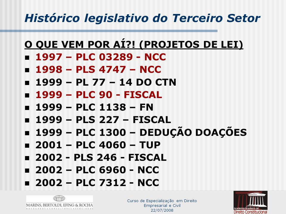 Curso de Especialização em Direito Empresarial e Civil 22/07/2008 Histórico legislativo do Terceiro Setor O QUE VEM POR AÍ?.