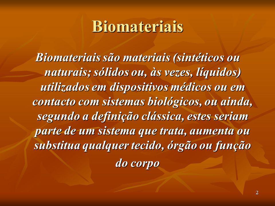 2 Biomateriais Biomateriais são materiais (sintéticos ou naturais; sólidos ou, às vezes, líquidos) utilizados em dispositivos médicos ou em contacto c