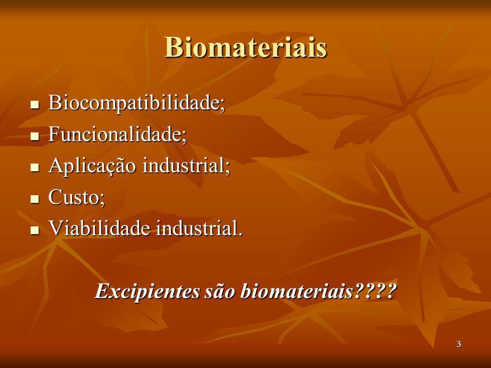 3 Biomateriais Biocompatibilidade; Biocompatibilidade; Funcionalidade; Funcionalidade; Aplicação industrial; Aplicação industrial; Custo; Custo; Viabi