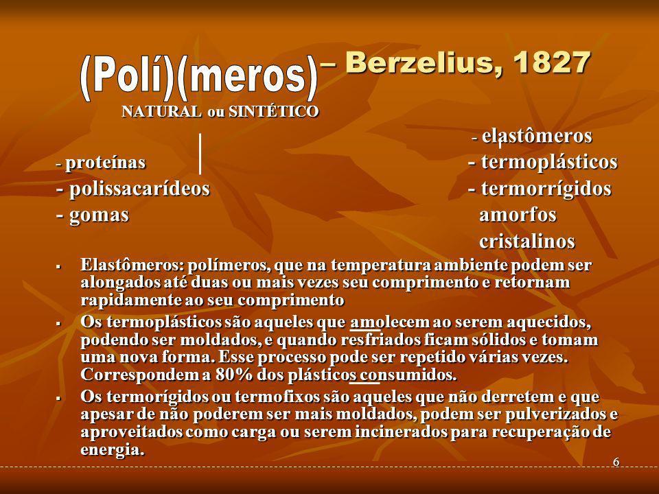 6 – Berzelius, 1827 – Berzelius, 1827 NATURAL ou SINTÉTICO - elastômeros - elastômeros - proteínas - termoplásticos - polissacarídeos - termorrígidos