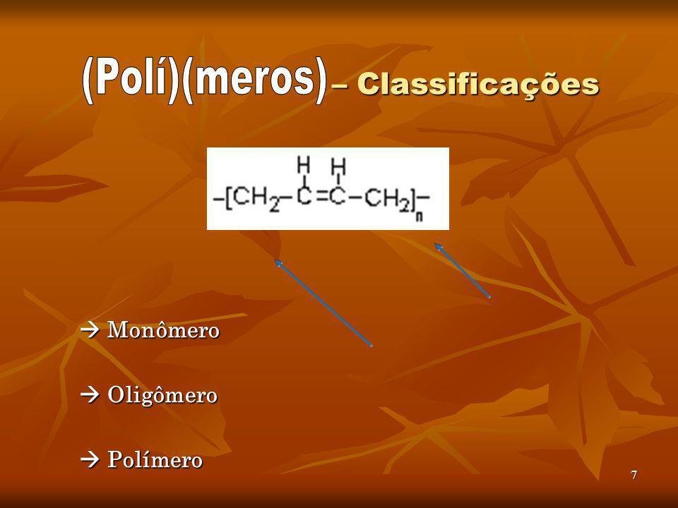 7 – Classificações – Classificações Monômero Monômero Oligômero Oligômero Polímero Polímero