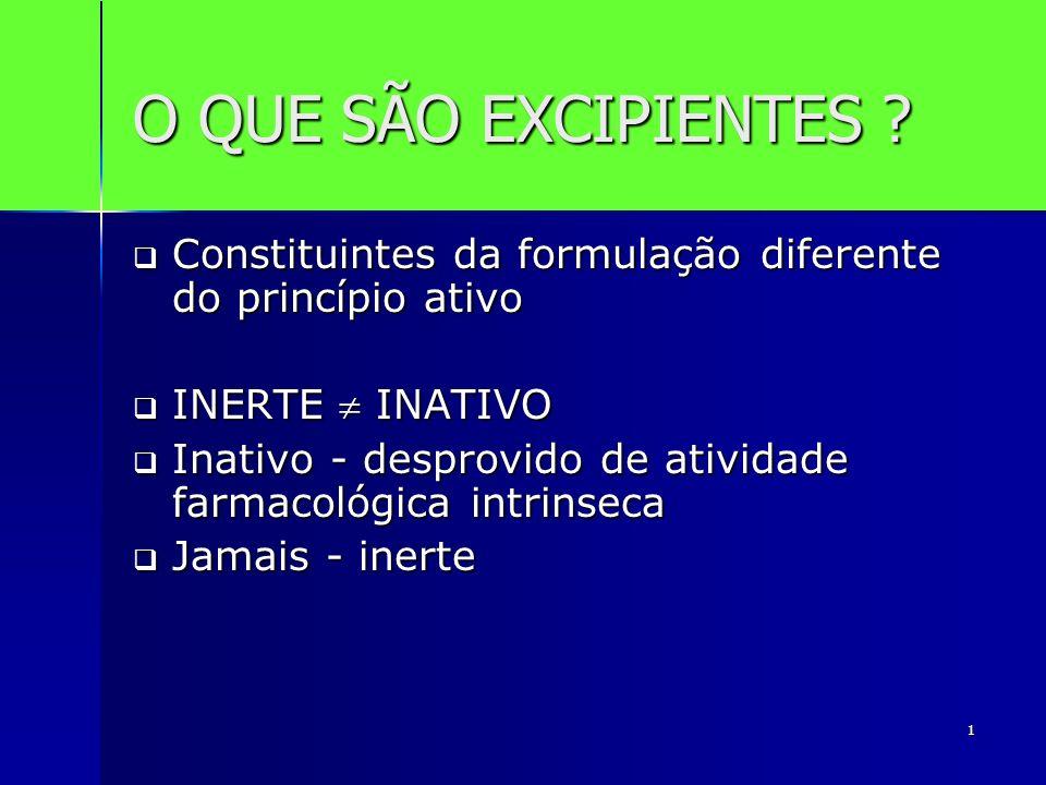 1 O QUE SÃO EXCIPIENTES ? Constituintes da formulação diferente do princípio ativo Constituintes da formulação diferente do princípio ativo INERTE INA