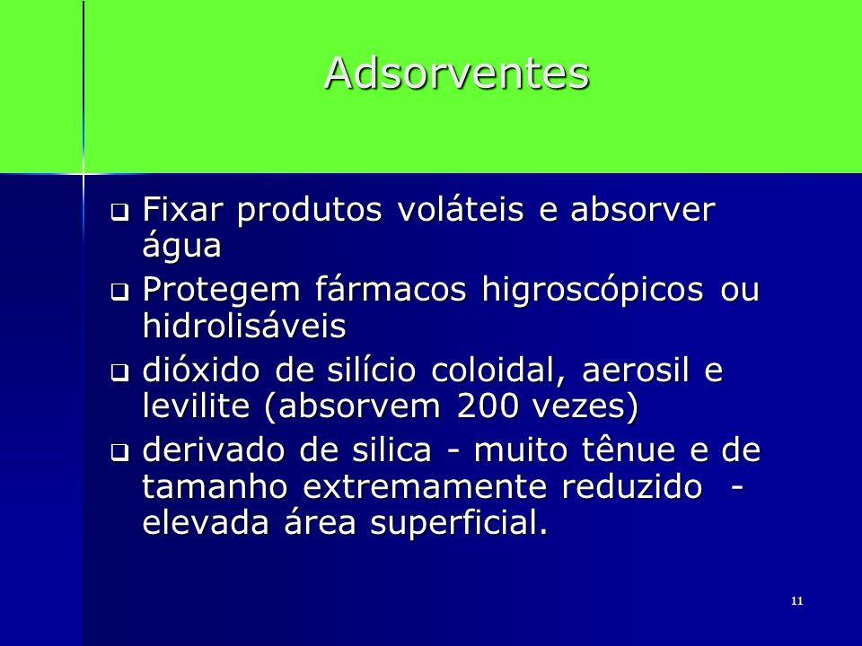 11 Adsorventes Fixar produtos voláteis e absorver água Fixar produtos voláteis e absorver água Protegem fármacos higroscópicos ou hidrolisáveis Proteg
