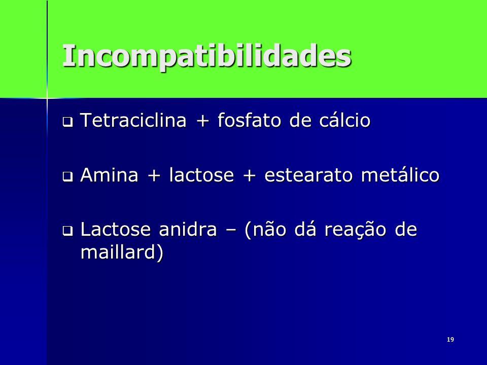 19 Incompatibilidades Tetraciclina + fosfato de cálcio Tetraciclina + fosfato de cálcio Amina + lactose + estearato metálico Amina + lactose + esteara
