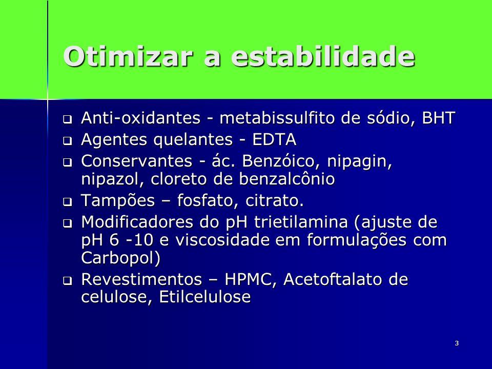 3 Otimizar a estabilidade Anti-oxidantes - metabissulfito de sódio, BHT Anti-oxidantes - metabissulfito de sódio, BHT Agentes quelantes - EDTA Agentes