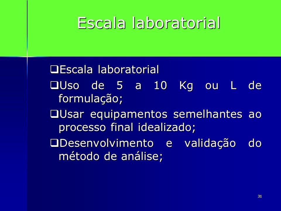 31 Escala laboratorial Escala laboratorial Escala laboratorial Uso de 5 a 10 Kg ou L de formulação; Uso de 5 a 10 Kg ou L de formulação; Usar equipame