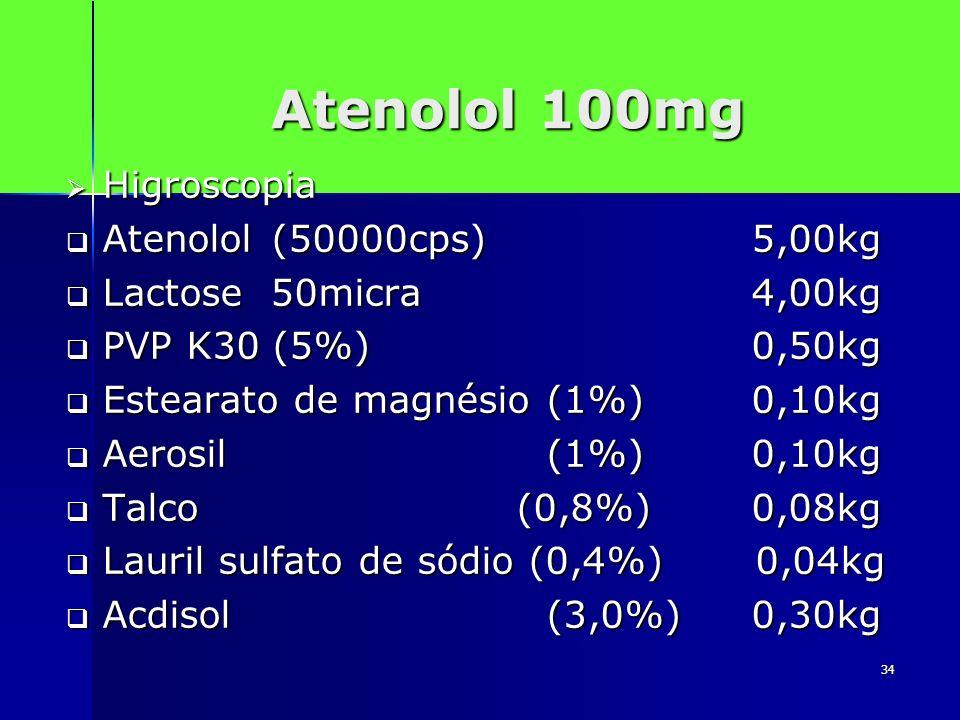 34 Atenolol 100mg Higroscopia Higroscopia Atenolol (50000cps) 5,00kg Atenolol (50000cps) 5,00kg Lactose 50micra 4,00kg Lactose 50micra 4,00kg PVP K30