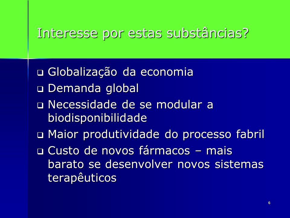 6 Interesse por estas substâncias? Globalização da economia Globalização da economia Demanda global Demanda global Necessidade de se modular a biodisp