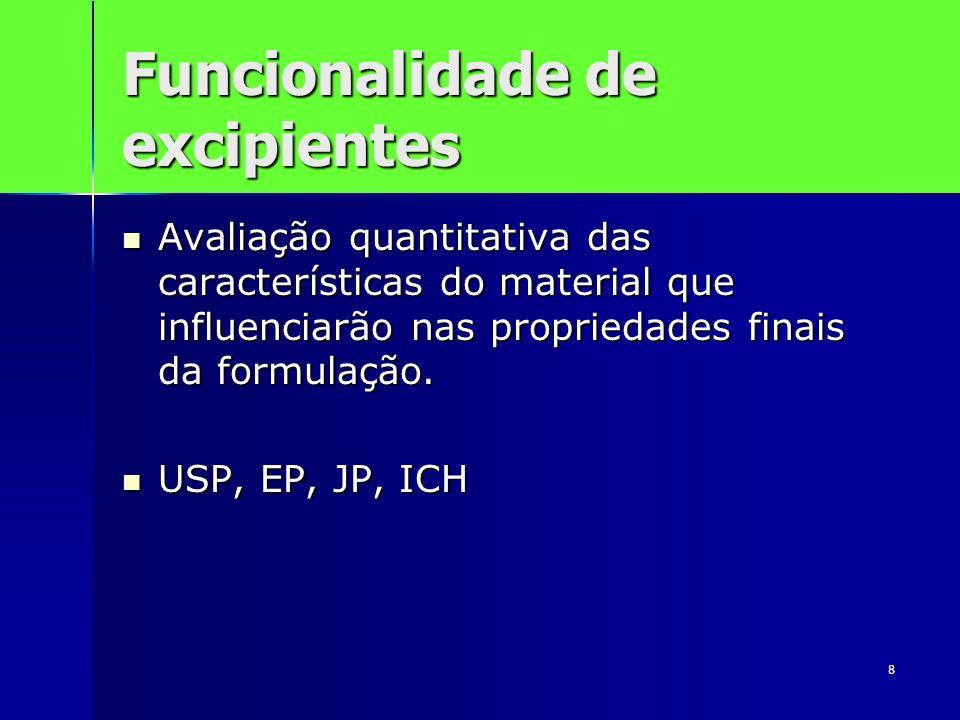 8 Funcionalidade de excipientes Avaliação quantitativa das características do material que influenciarão nas propriedades finais da formulação. Avalia