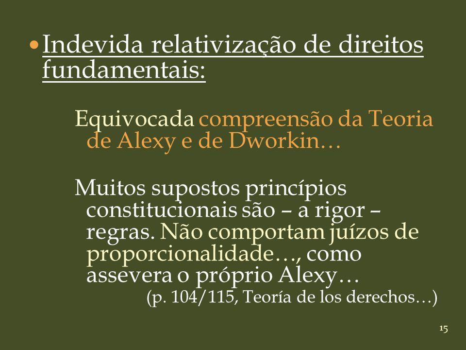 15 Indevida relativização de direitos fundamentais: Equivocada compreensão da Teoria de Alexy e de Dworkin… Muitos supostos princípios constitucionais