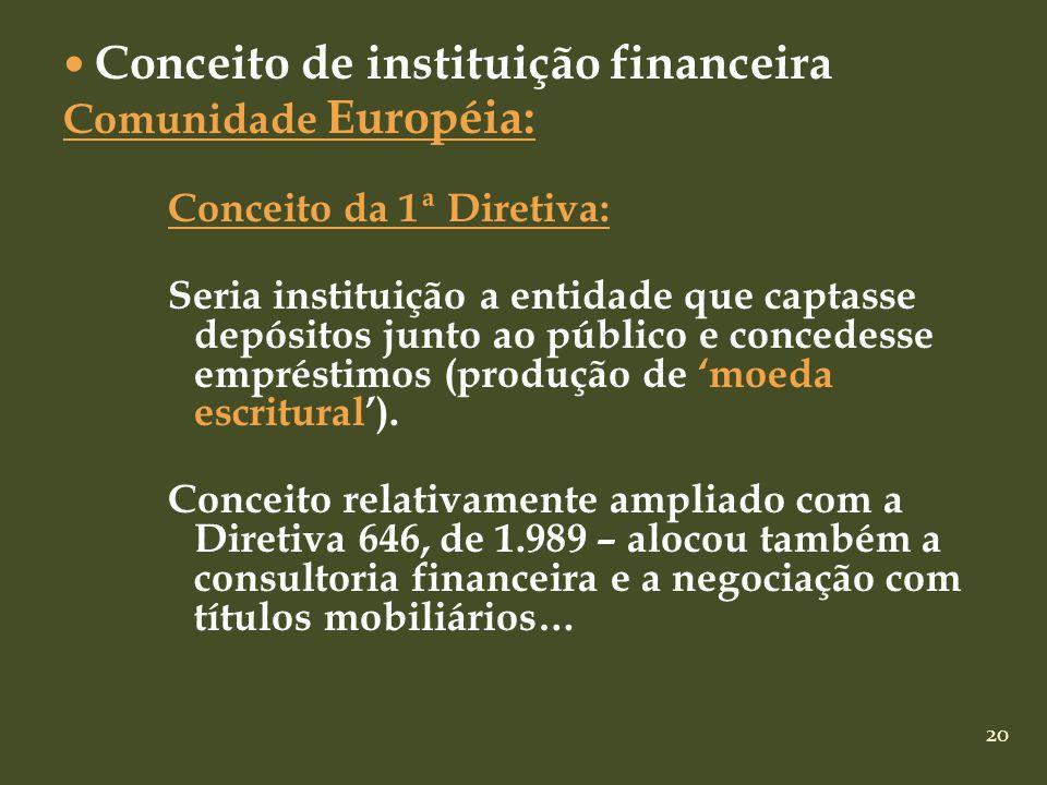 20 Conceito de instituição financeira Comunidade Européia: Conceito da 1ª Diretiva: Seria instituição a entidade que captasse depósitos junto ao públi