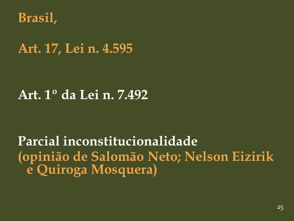 25 Brasil, Art. 17, Lei n. 4.595 Art. 1º da Lei n. 7.492 Parcial inconstitucionalidade (opinião de Salomão Neto; Nelson Eizirik e Quiroga Mosquera)