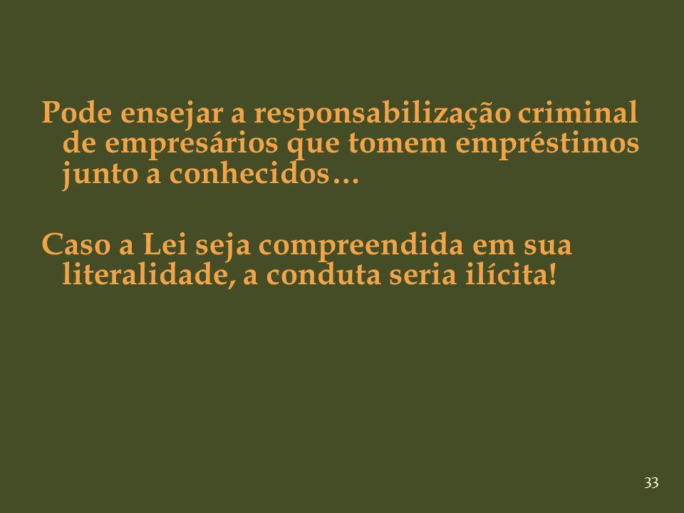 33 Pode ensejar a responsabilização criminal de empresários que tomem empréstimos junto a conhecidos… Caso a Lei seja compreendida em sua literalidade