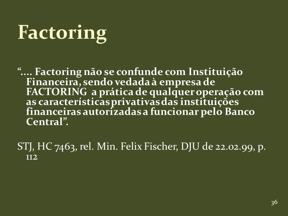 36 Factoring.... Factoring não se confunde com Instituição Financeira, sendo vedada à empresa de FACTORING a prática de qualquer operação com as carac
