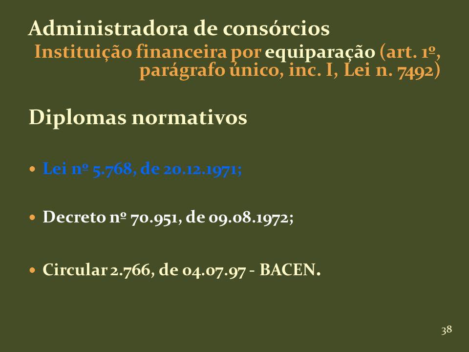 38 Administradora de consórcios Instituição financeira por equiparação (art. 1º, parágrafo único, inc. I, Lei n. 7492) Diplomas normativos Lei nº 5.76
