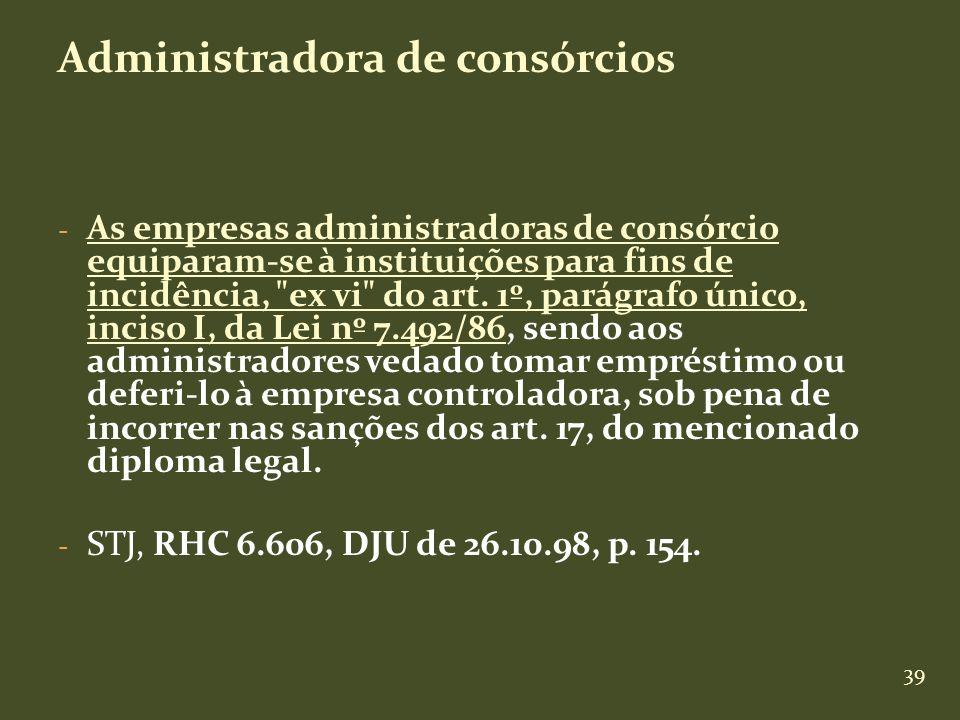 39 Administradora de consórcios - As empresas administradoras de consórcio equiparam-se à instituições para fins de incidência,