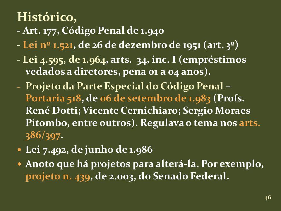 46 Histórico, - Art. 177, Código Penal de 1.940 - Lei nº 1.521, de 26 de dezembro de 1951 (art. 3º) - Lei 4.595, de 1.964, arts. 34, inc. I (empréstim