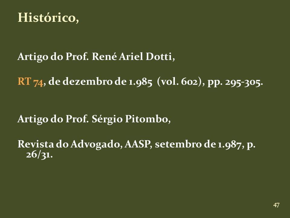 47 Histórico, Artigo do Prof. René Ariel Dotti, RT 74, de dezembro de 1.985 (vol. 602), pp. 295-305. Artigo do Prof. Sérgio Pitombo, Revista do Advoga