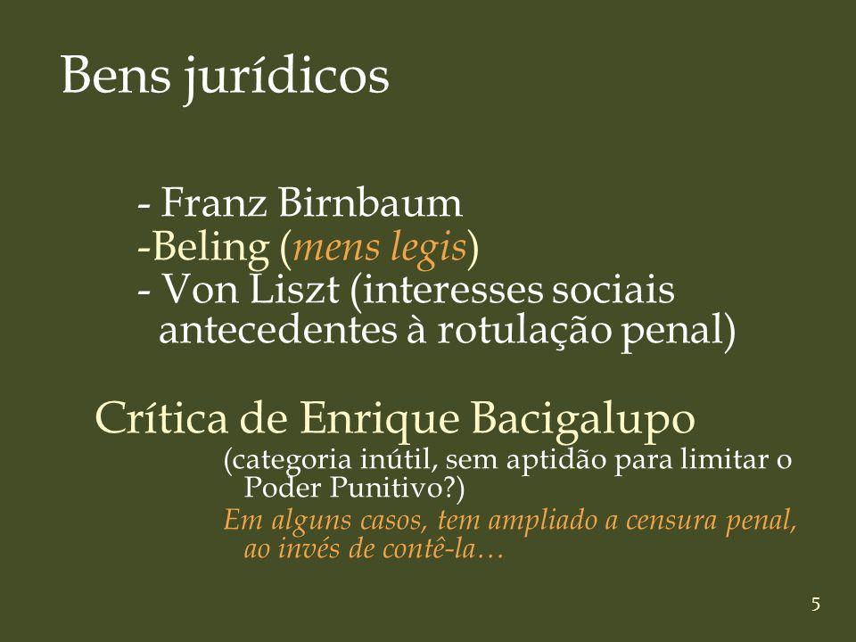 5 - Franz Birnbaum -Beling ( mens legis ) - Von Liszt (interesses sociais antecedentes à rotulação penal) Crítica de Enrique Bacigalupo (categoria inú