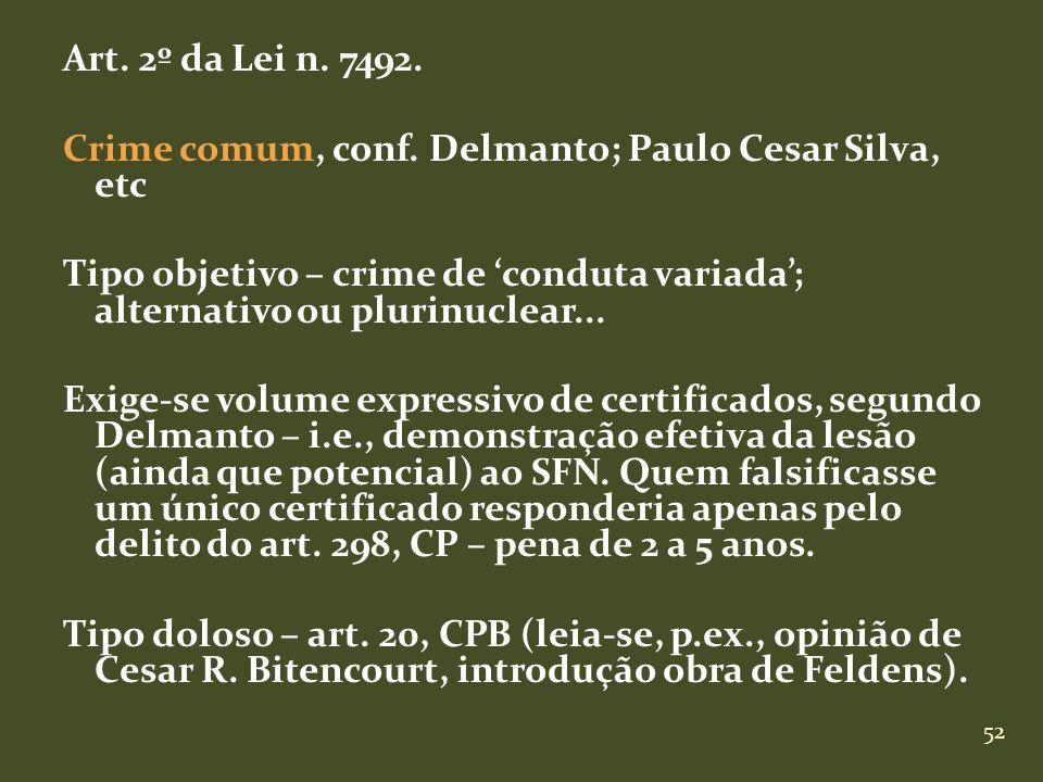 52 Art. 2º da Lei n. 7492. Crime comum, conf. Delmanto; Paulo Cesar Silva, etc Tipo objetivo – crime de conduta variada; alternativo ou plurinuclear..