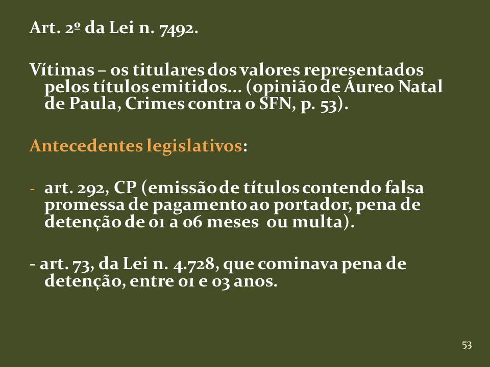 53 Art. 2º da Lei n. 7492. Vítimas – os titulares dos valores representados pelos títulos emitidos... (opinião de Áureo Natal de Paula, Crimes contra