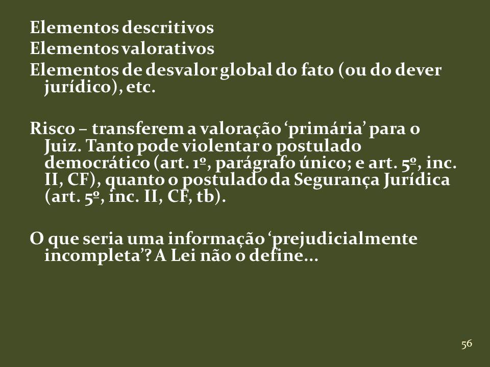 56 Elementos descritivos Elementos valorativos Elementos de desvalor global do fato (ou do dever jurídico), etc. Risco – transferem a valoração primár