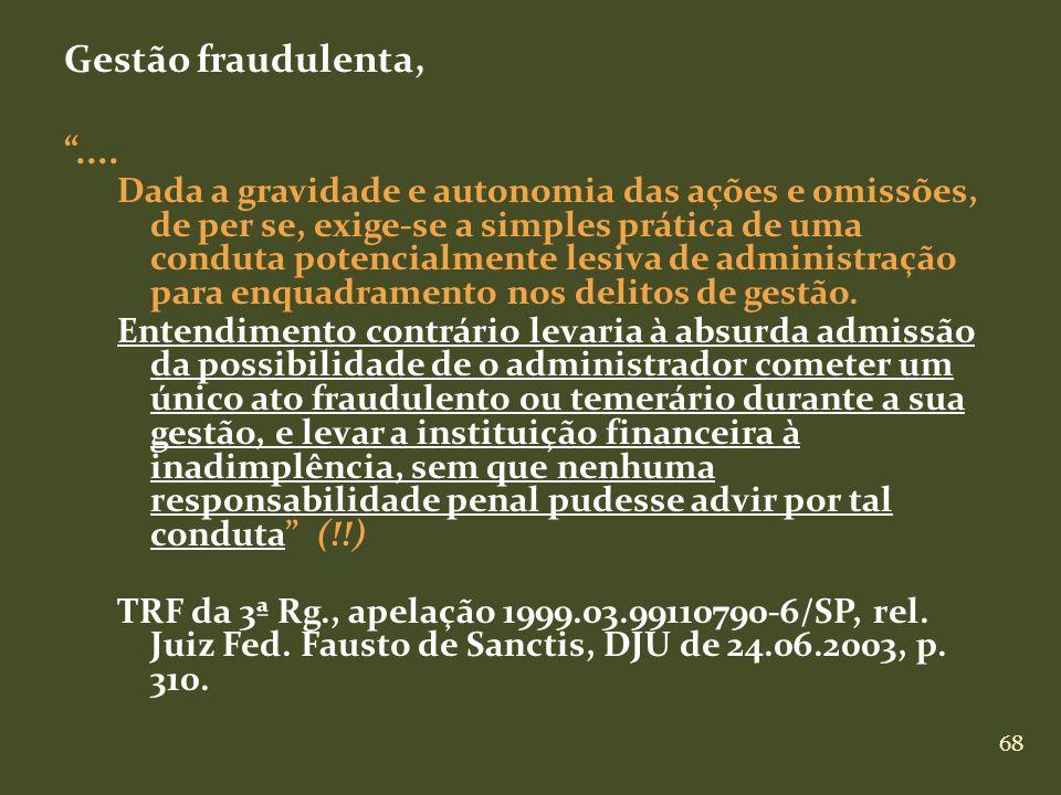 68 Gestão fraudulenta,.... Dada a gravidade e autonomia das ações e omissões, de per se, exige-se a simples prática de uma conduta potencialmente lesi