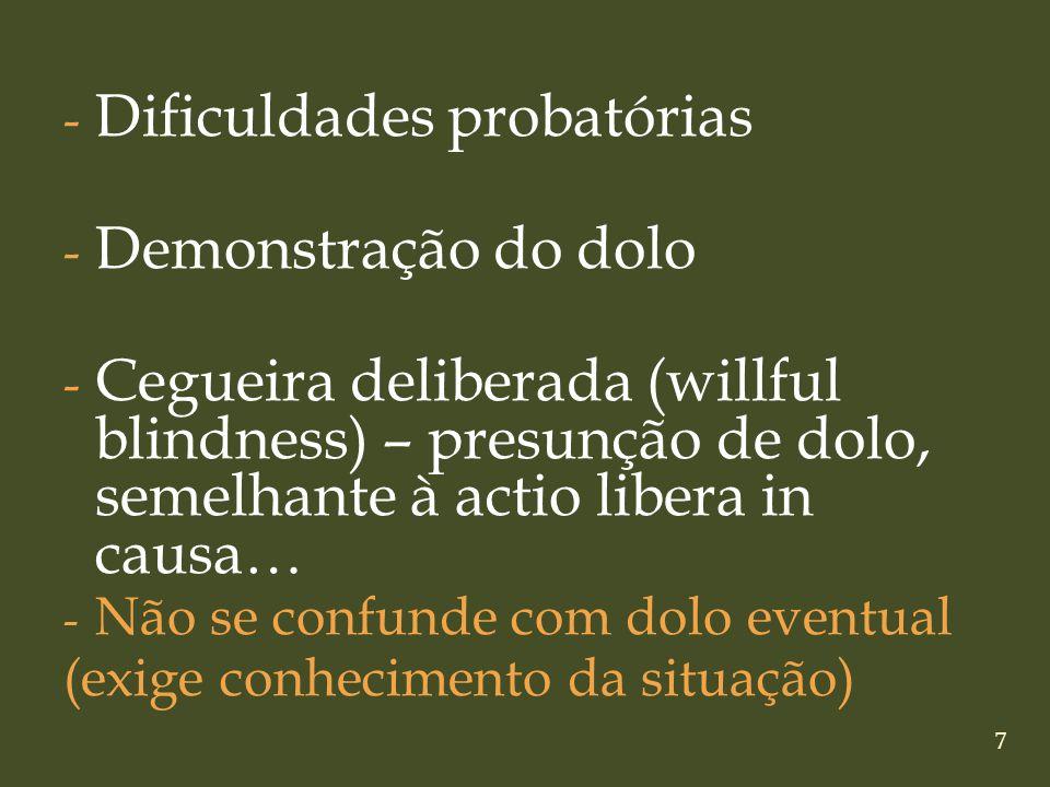 7 - Dificuldades probatórias - Demonstração do dolo - Cegueira deliberada (willful blindness) – presunção de dolo, semelhante à actio libera in causa…