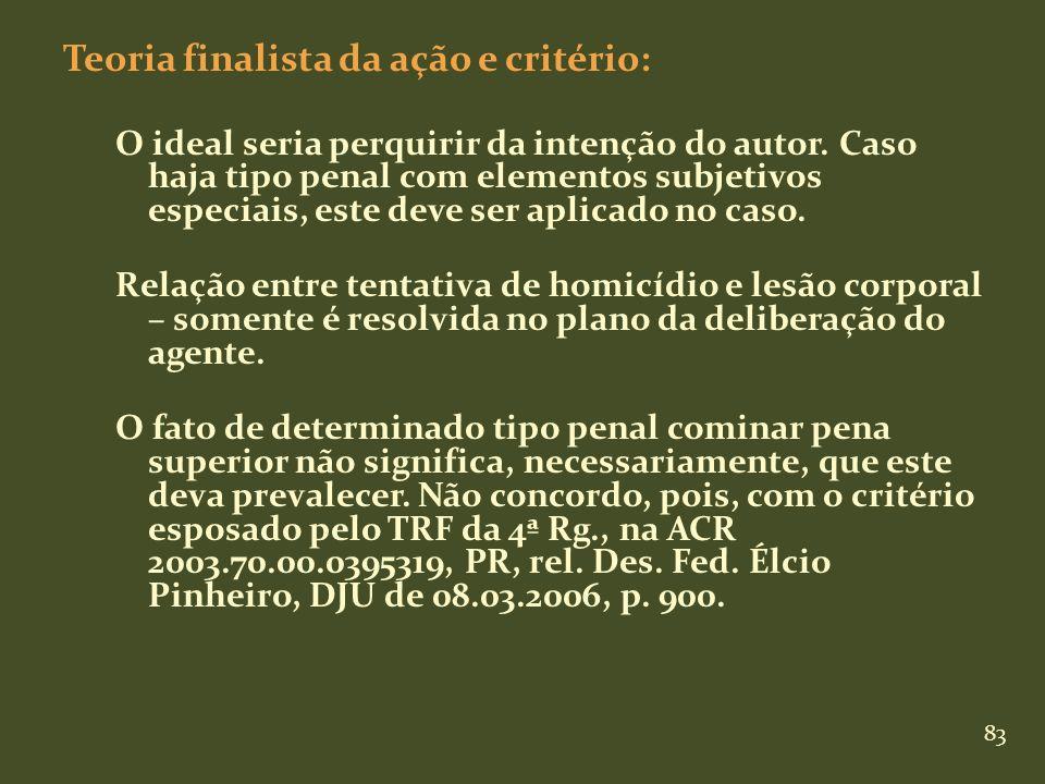 83 Teoria finalista da ação e critério: O ideal seria perquirir da intenção do autor. Caso haja tipo penal com elementos subjetivos especiais, este de