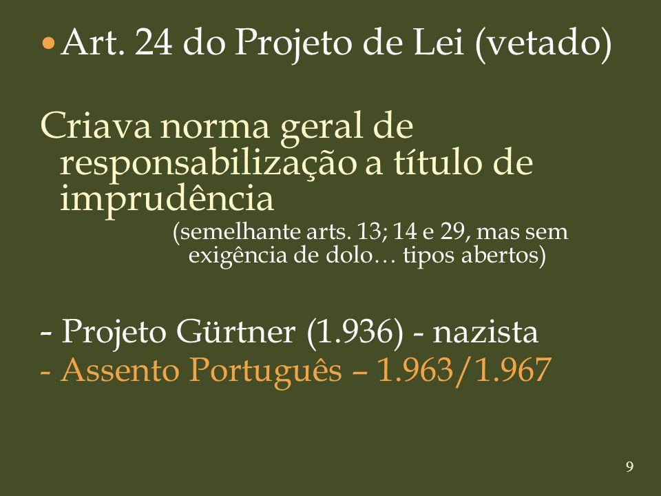 9 Art. 24 do Projeto de Lei (vetado) Criava norma geral de responsabilização a título de imprudência (semelhante arts. 13; 14 e 29, mas sem exigência