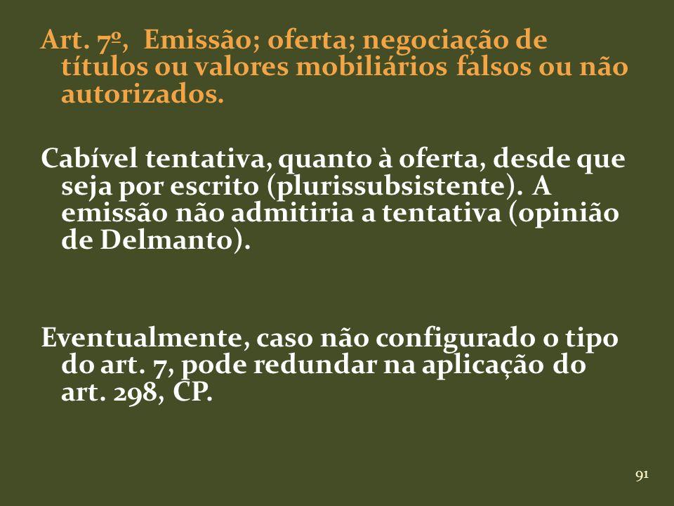 91 Art. 7º, Emissão; oferta; negociação de títulos ou valores mobiliários falsos ou não autorizados. Cabível tentativa, quanto à oferta, desde que sej