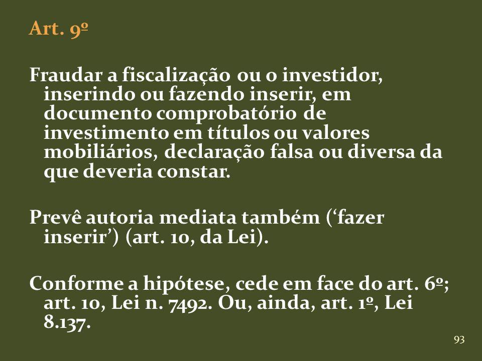 93 Art. 9º Fraudar a fiscalização ou o investidor, inserindo ou fazendo inserir, em documento comprobatório de investimento em títulos ou valores mobi