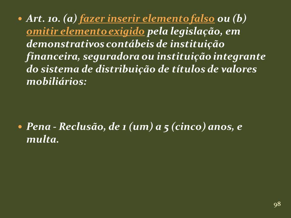 98 Art. 10. (a) fazer inserir elemento falso ou (b) omitir elemento exigido pela legislação, em demonstrativos contábeis de instituição financeira, se